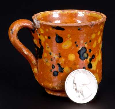 Small-Sized Slip-Decorated Redware Mug, possibly Solomon Loy, Alamance County, NC
