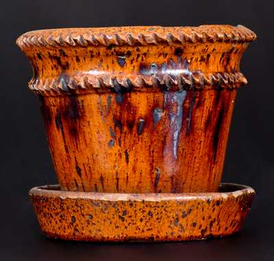 Rare Glazed Redware Flowerpot, Marked