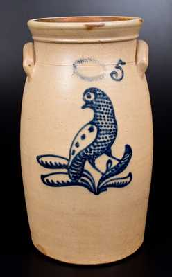 Fine J. BURGER JR. / ROCHESTER, NY Stoneware Churn w/ Slip-Trailed Bird Decoration