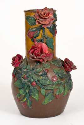 Cold-Painted Redware Vase with Applied Rose Decoration, American, 19th century