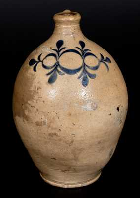 Rare Two-Gallon Stoneware Jug w/ Incised Drape-and-Tassel Decoration, probably Manhattan