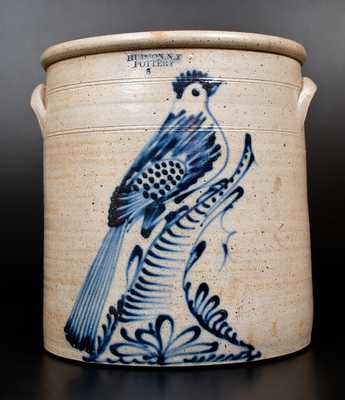 Exceptional HUDSON, N.Y. POTTERY Stoneware Bird Crock