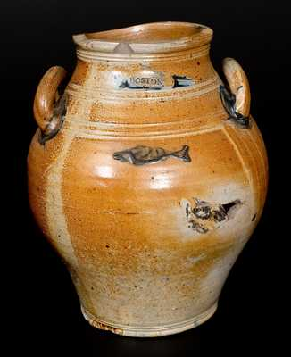 Scarce BOSTON Stoneware Jar with Impressed Fish Motif, late 18th century