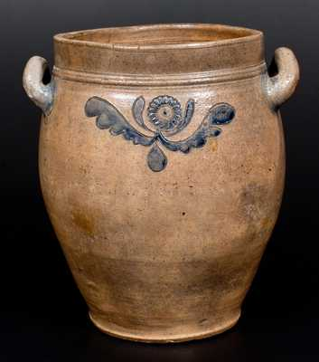 C. CROLIUS / MANHATTAN-WELLS / NEW-YORK Stoneware Jar w/ Incised, Impressed Decorations