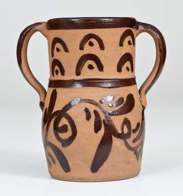 Rare Open-Handled Tanware Vase, New Geneva or Greensboro, PA origin, circa 1885