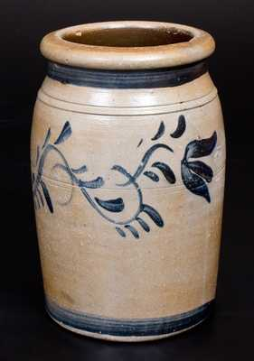 Rare COOPER & POWER / MAYSVILLE . KY Stoneware Jar w/ Cobalt Floral Decoration