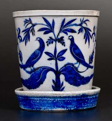 Extremely Important Stoneware Flowerpot w/ Elaborate Incised Birds, att. Morgan, Baltimore, 1820's