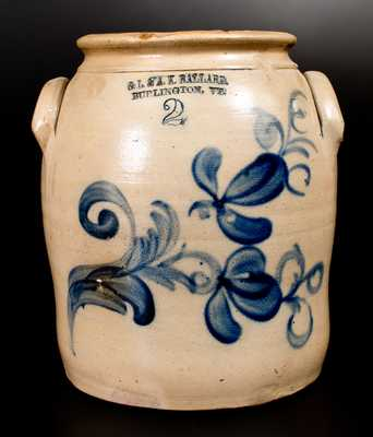 O. L. & A. K. BALLARD / BURLINGTON, VT Stoneware Jar w/ Cobalt Floral Decoration