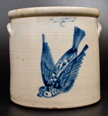6 Gal. SEYMOUR & BOSWORTH / HARTFORD, CONN. Stoneware Flying Bird Crock