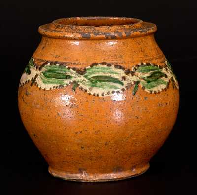 Very Rare Morgantown, West Virginia, School Slip-Decorated Redware Jar