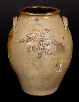 Ohio Stoneware Jar w/ Elaborate Incised Federal Eagle Decoration with Heart-Shaped Shield