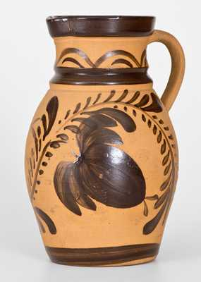 Western PA Tanware Pitcher with Large Brushed Floral Decoration