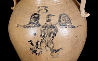 Monumental 8-Gal. Ohio Stoneware Water Cooler w/ Incised Federal Eagle Design
