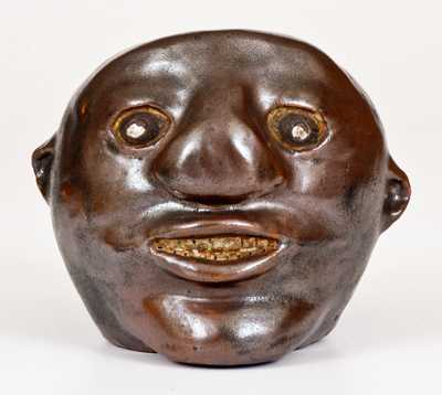Very Rare Southern Stoneware Face Bank, probably Georgia