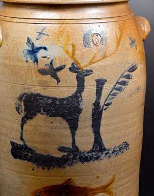 Important Morgantown, WV Stoneware Crock w/ Deer Scene and Fish Decoration