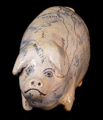 Fine Anna Pottery 1882 Pig Bottle