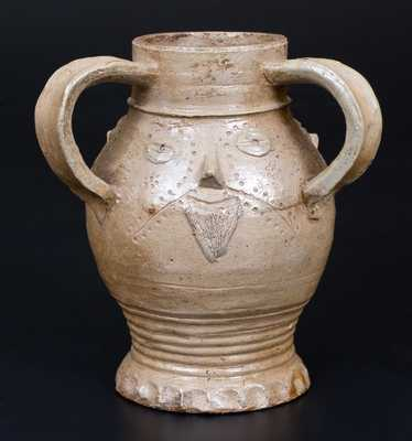 Fine Stoneware Raeren with Triple Face Decoration, Belgian (previously German) origin, c1500