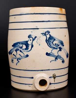 Scarce WEST TROY POTTERY Stoneware Water Cooler w/ Double Bird Decoration