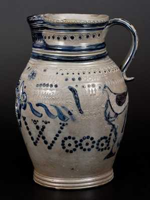Extremely Rare and Important Maysville, KY Stoneware Pitcher, Ezekiel Henry Wood, 1840