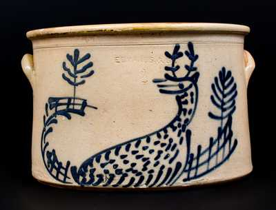 Very Rare 2 Gal. EDMANDS & CO. Stoneware Cake Crock with Slip-Trailed Deer Decoration