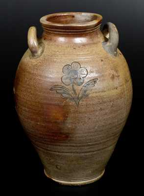 Stoneware Jar w/ Impressed Floral Motif, attrib. Jonathan Fenton, Boston, MA, late 18th century