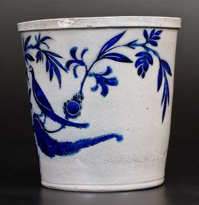 Extremely Important Stoneware Flowerpot w/ Elaborate Incised Birds, att. Morgan, Baltimore, 1820 s