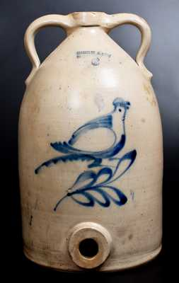 6 Gal. SATERLEE & MORY / FORT EDWARD, NY Stoneware Water Cooler w/ Bird Decoration