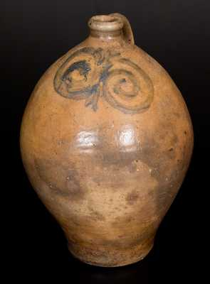 Early Ovoid Stoneware Jug w/ Watchspring Decoration, NJ or New England, late 18th Century