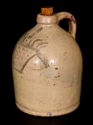 Exceptional Redware Jug w/ Slip Basket-of-Flowers Decoration, probably New York State