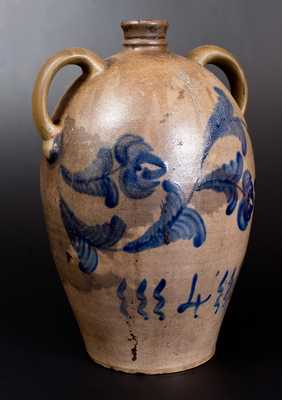 4 Gal. Western PA Stoneware Two-Handled Jug with Floral Decoration