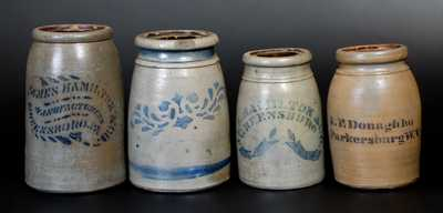 Four Cobalt-Decorated Stoneware Canning Jars, Western PA and WV origin, circa 1875