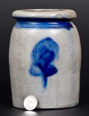 Unusual Small-Sized Stoneware Jar with Cobalt Floral Decoration, Western PA origin