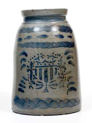 Rare Large-Sized Canning Jar w/ Federal Shield Decoration, att. Stephen H. Ward, West Brownsville, PA