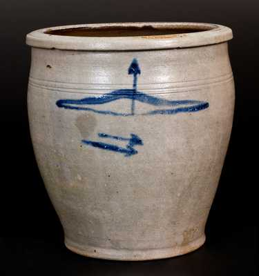 Very Rare Morgantown, WV Stoneware Jar w/ Bow and Arrow Decoration, att. Thompson Pottery