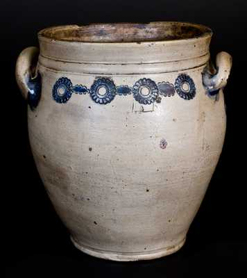 Unusual attrib. Crolius, Manhattan Stoneware Jar w/ Impressed Rosettes, circa 1810