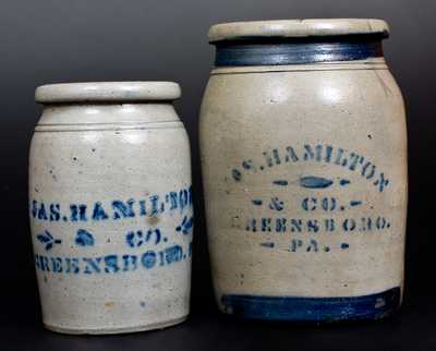 Lot of Two: Stoneware Jars Stenciled JAS. HAMILTON & CO. / GREENSBORO, PA