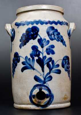 2 Gal. Stoneware Water Cooler w/ Brushed Floral Decoration att. Henry Remmey, Philadelphia