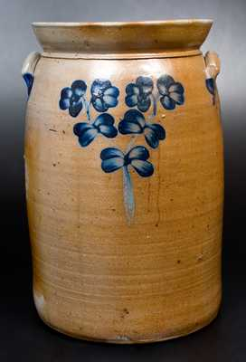 6 Gal. Stoneware Churn with Floral Decoration, Baltimore, circa 1870