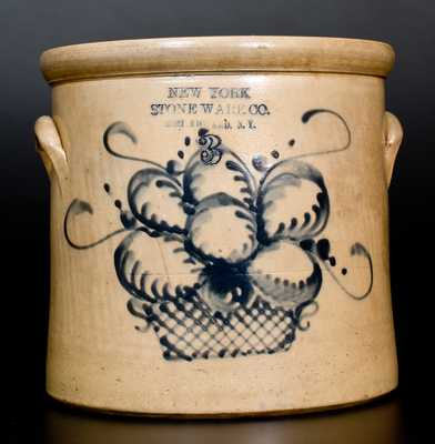 NEW YORK STONEWARE CO. / FORT EDWARD, N.Y. Stoneware Crock w/ Basket of Fruit
