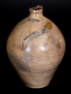 2 Gal. I SEYMOUR / TROY FACTORY Stoneware Jug with Fine Incised Bird Decoration