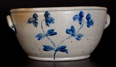 Extremely Rare Large-Sized Baltimore Stoneware Bowl w/ Floral Decoration