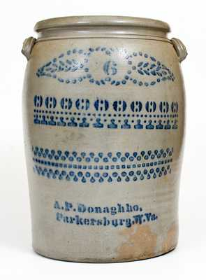 6 Gal. A. P. Donaghho / Parkersburg, W. Va. Stoneware Jar w/ Profuse Stenciled Decoration
