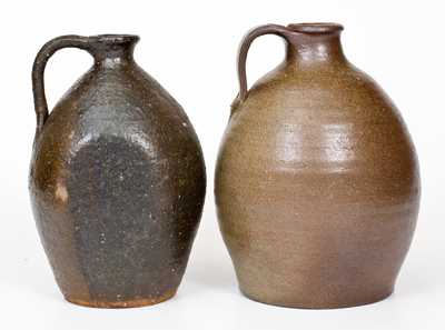 Lot of Two: Catawba Valley, NC Stoneware Jugs, probably J. W. Carpenter, late 19th century