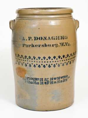 5 Gal. A. P. DONAGHHO / Parkersburg, W.Va. Stoneware Jar with Stenciled Decoration