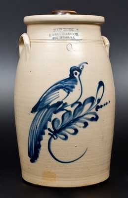 6 Gal. NEW YORK STONEWARE CO. / FORT EDWARD, N.Y. Stoneware Churn w/ Bird Decoration