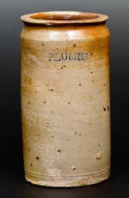 Rare C. CROLIUS / MANUFACTURER / MANHATTAN-WELLS / NEW-YORK Stoneware PLUMBS Jar