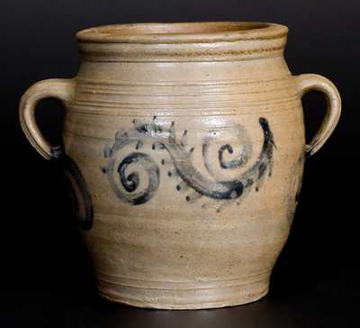Very Fine 1/2 Gal. Stoneware Watchspring Jar, att. Abraham Mead, Greenwich, CT, late 18th century