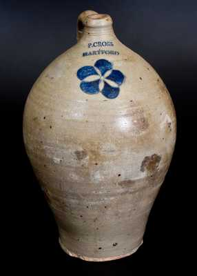 Fine 3 Gal. P. CROSS / HARTFORD Stoneware Jug with Incised Decoration