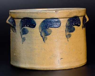 J. SWANK & CO. / JOHNSTOWN, PA Stoneware Butter Crock with Cobalt Decoration