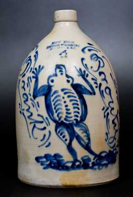 Exceptional and Important New York Stoneware Co. Jug w/ Elaborate Frog Decoration, Made for Potter's Son